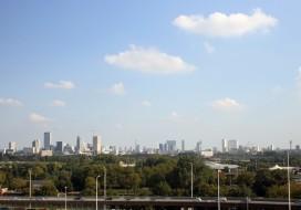 Skyline Rotterdam vanaf het Kleinpolderplein